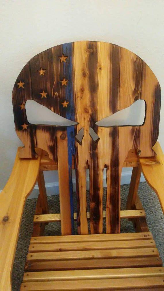 Skull Adirondack Chair Plans Reclining Office Chairs Custom Cedar Punisher Woodworking