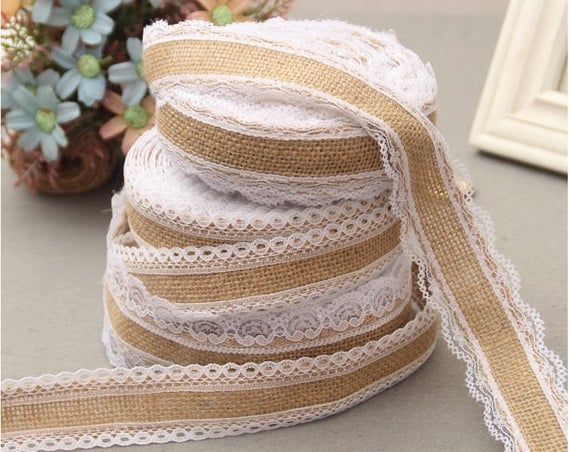 10m Natural Jute Burlap Ribbon with Lace for Craft Wedding Party Decor