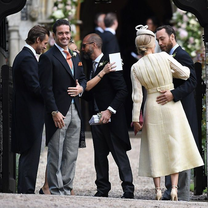 The groom's brother Spencer Matthews was looking proud before the wedding, as James Middleton wrapped his arm around girlfriend Donna Air. Photo: Samir Hussein/WireImage