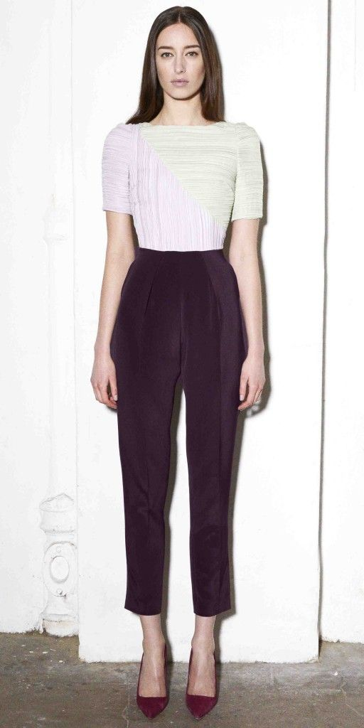 LAVENDER, MINT AND ROSEWOOD CRUSH PLEATED SILK CADY JUMPSUIT WITH MINT ORGANZA BACK AND POCKETS. Barbara Casasola 2013