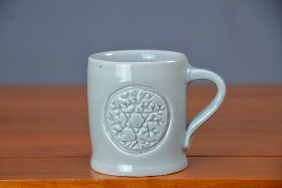 Light Blue Coffee Mug, Hand Thrown Porcelain Pottery, Hand Carved Cup, Interlocking Triangles Tree of Life, Star of David | Caldwell Pottery