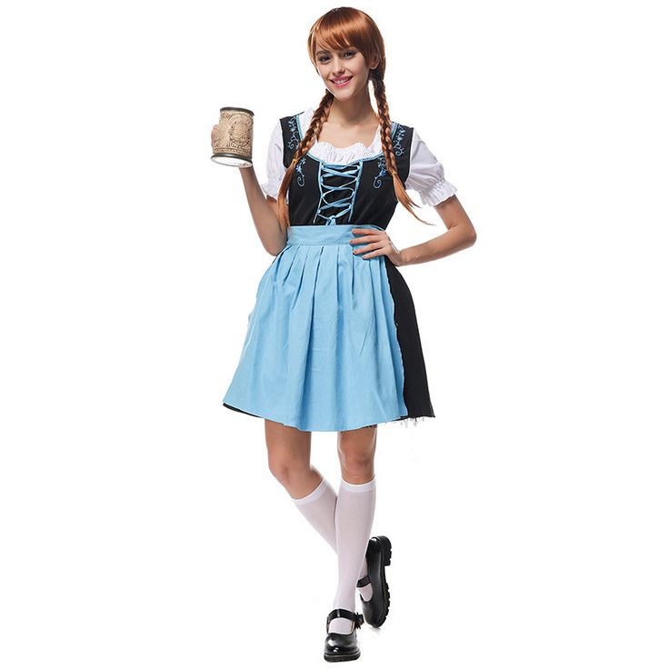 free shipping   Oktoberfest Beer Maid Costume Bavarian German Heidi M L XL