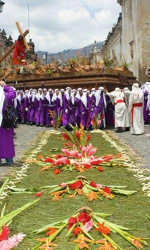 La Semana Santa (Holy Week) processionales in Antigua, Guatemala. Incredible.