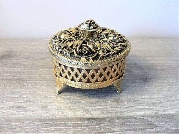 Vintage 50's Gold Filigree Cosmetic Jar  Trinket Box