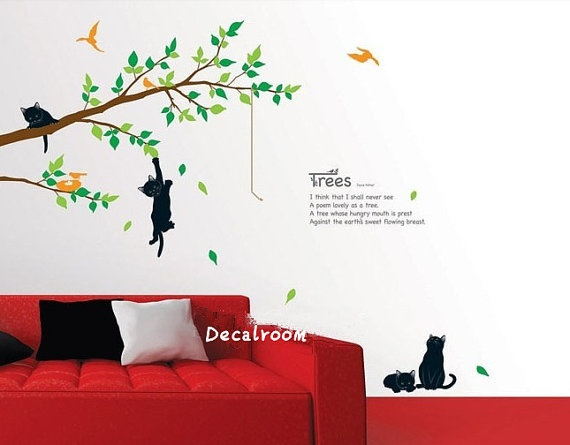 #2 Of Cat Wall Decal Stickers (Cute Cats Wall Decal Stickers Vinyl Stickers  Nature