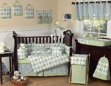 CHEAP BLUE AND GREEN BABY BOY CRIB BEDDING SET COLLECTION BY SWEET JOJO DESIGNS