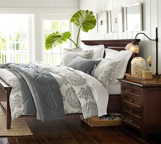HUDSON BED COLLECTION POTTERY BARN Lucianna Medallion Duvet Cover & Sham | Pottery Barn - Grey/Master BR