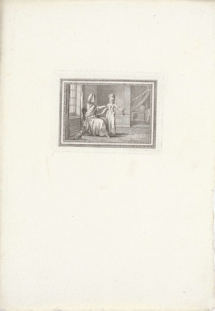 Reinier Vinkeles | Coosje en haar moeder, Reinier Vinkeles, Antoine Alexandre Joseph Cardon, Jacobus Buys, 1792 | Coosje toont haar moeder verdrietig een verdorde roos. Illustratie bij het verhaal 'Coosje en hare moeder' uit 'Fabelen voor de Nederlandsche jeugd'.