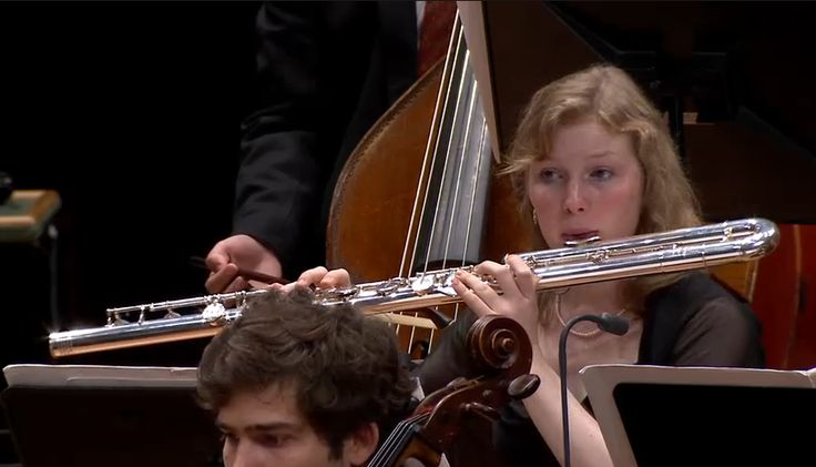 A bass flute played by a member of Junge Deutsche Philharmonie. (Captured from a concert streamed on 5 Oct 2015)