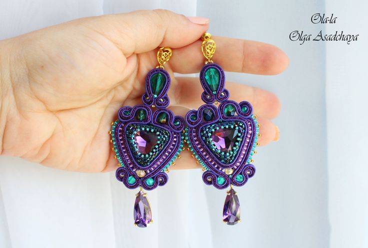 "LUX For Class earrings ""Blueberry emerald"" soutache, crystal rhinestones, pendants with zircons,, glass and crystal beads, Japanese beads,"