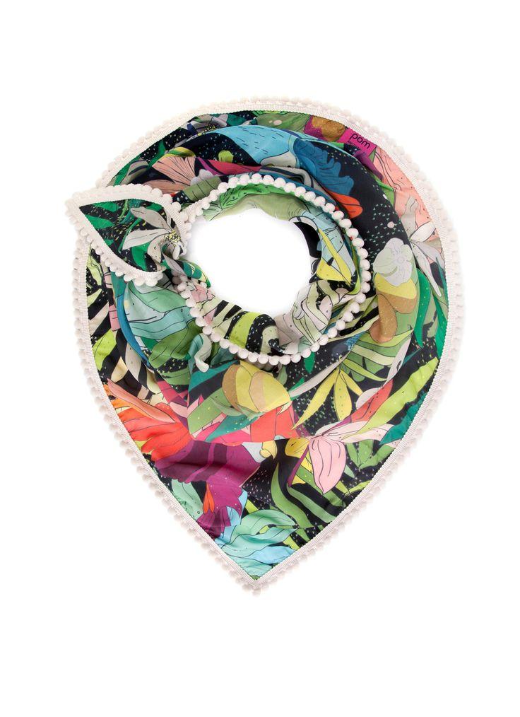 POM Amsterdam Driehoekige sjaal Jungle Cat Night 150 x 130 cm • de Bijenkorf