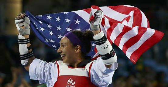 BRONZE! Team USA's Jackie Galloway celebrates winning her 1st Taekwondo Olympic Bronze Medal with U.S., Mexican fans! Rio 2016  http://on.wsj.com/2bVDnwe  via @WSJ