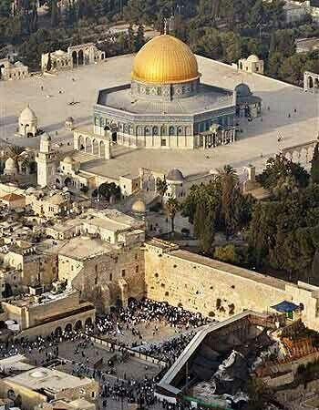 Al-Aqsa mosque and the adjacent Qubat-Al-sakhra  (Dome of the Rock) . Palestine