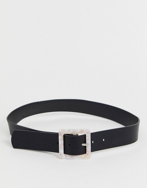 e3f4bb52d8 Glamorous black belt with resin square buckle in 2019 ...