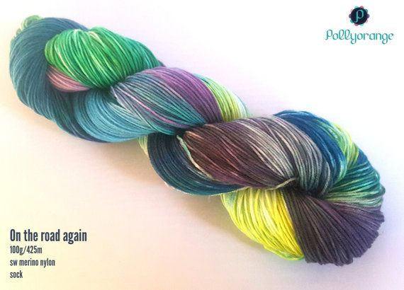 On the road again hand dyed superwash merino nylon by Pollyorange