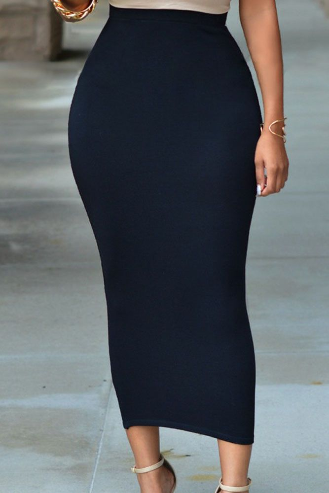 Long Black Pencil Skirt 39