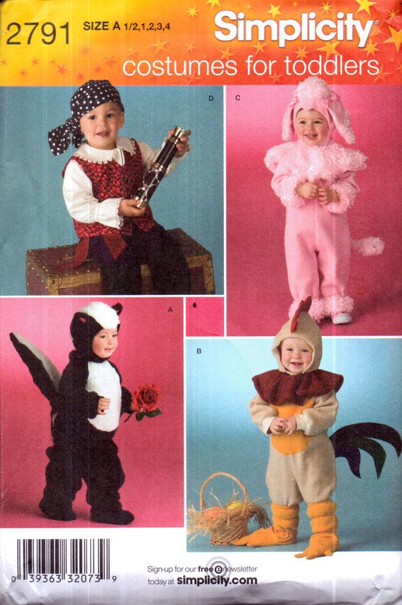 Genuine Vintage SIMPLICITY 2791 Costumes for Toddlers '4' to make! Pirate, Pink Lamb, Badger, Cockerill!