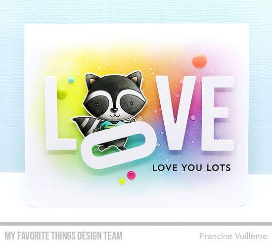 Card by Francine (www.1001cartes.ch) karte, carte, carterie, cardmaking, cardmaker,   crafts, papercrafts, handmade, diy, stamping, #1001cartes,   mftstamps, #mftstamps, raiving Raccoons, rainbow blend. distress inks