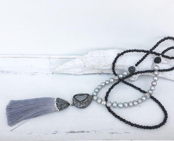 Ketten lang - lange Kette - Quaste - Achat - - ein Designerstück von moanda bei DaWanda