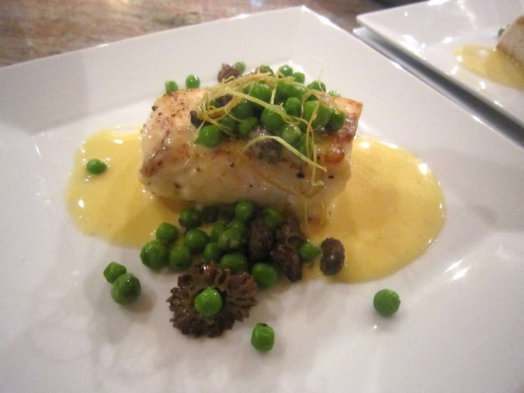 ... Halibut with Spring Peas, Morel Mushrooms & a Citrus Butter Sauce-Yum