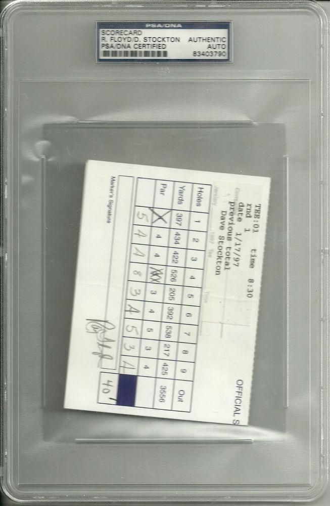 RAYMOND FLOYD DAVE STOCKTON AUTO SIGNED OFFICIAL SCORECARD PSA/DNA