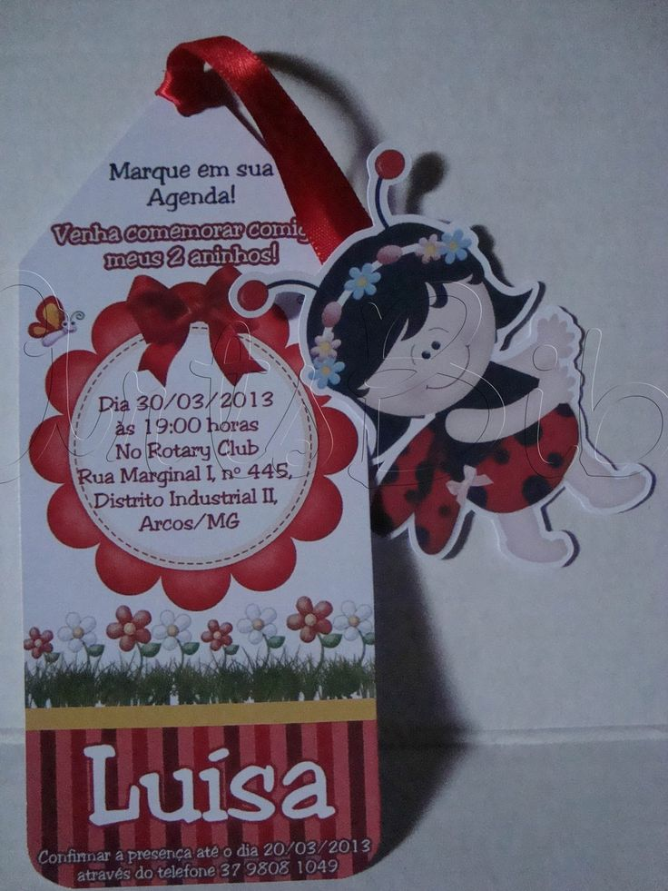 Convite Joaninha Marca Paginas