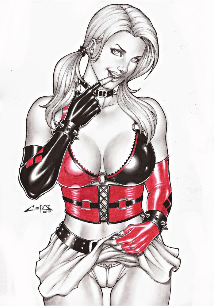 HARLEY QUINN BY ARTIST CARLOS AUGUSTO - ART original PINUP Drawing Original #PopArt