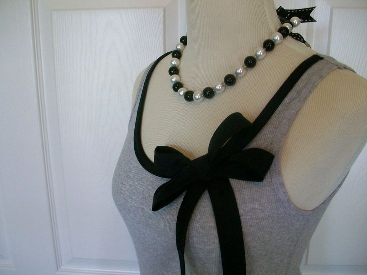 Embellished Tank Top in Gray with Black Ribbon Trim and Bow. $33,00, via Etsy.