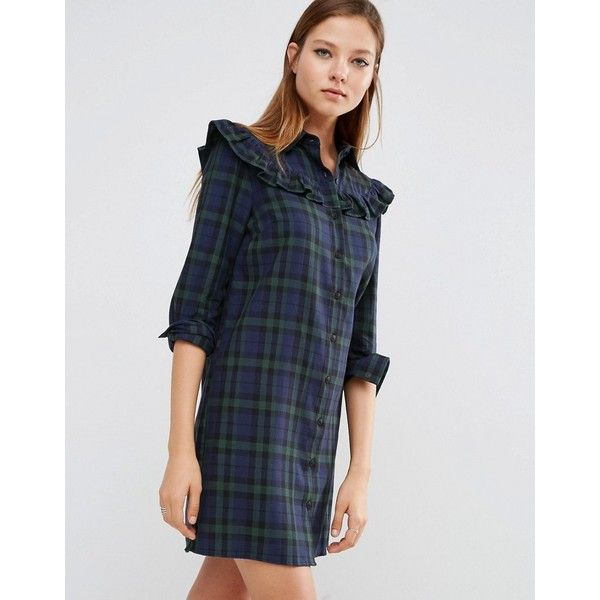 ASOS Shirt Dress with Frill in Check featuring polyvore, women's fashion, clothing, dresses, multi, button shirt dress, button-down shirt dresses, button dress, cotton shirt dress and long-sleeve shirt dresses