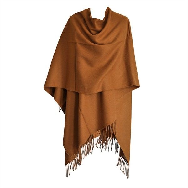 Grand Poncho camel avec franges Toutacoo Made in France