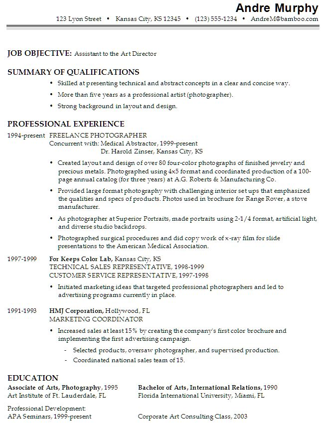 Film Production Assistant Resume Template -    www - Concise Resume Template