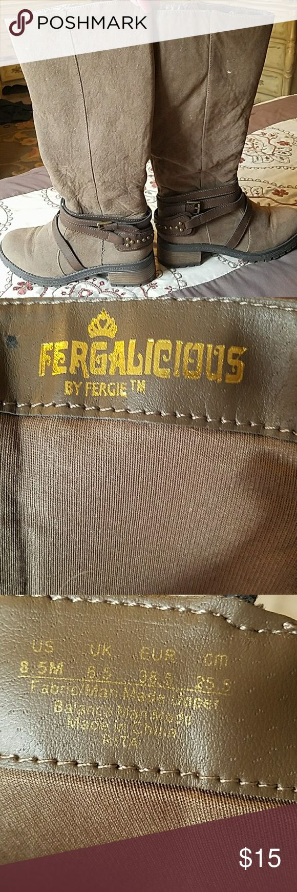 Fergalicious by Fergus boots Light brown with gold embellishments.  Really comfy. Worm once and were just to warm. I live in Atlanta, falls not exactly cold Fergalicious Shoes Combat & Moto Boots