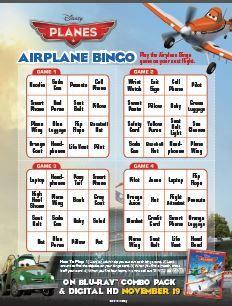 Disney Planes Bingo: Free Printable
