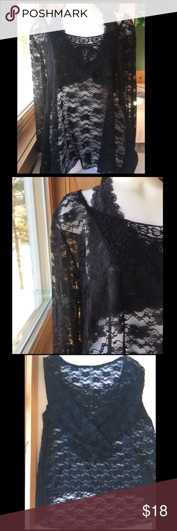 🖤Lovely lace swim suit cover up🖤 Black lace swimsuit coverup has three quarter length sleeves and scoop neck. Lace is longer in the back then in the front. Looks beautiful over a swim top, or can be worn as lingerie over a bra. There is no tag on this coverup but looks brand new! I would say it fits like a large. Swim Coverups