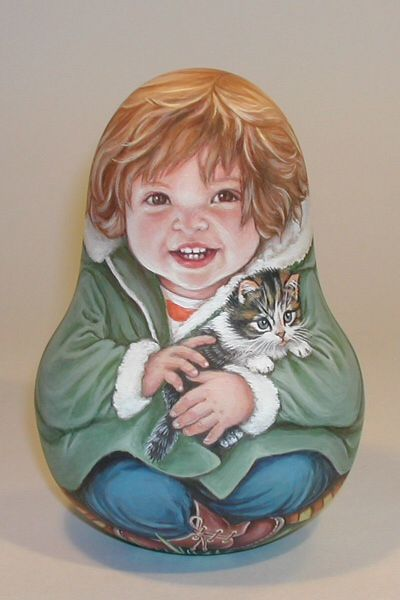 Little Girl with Kitten (My Sister) Nevelashka Lida's Studio