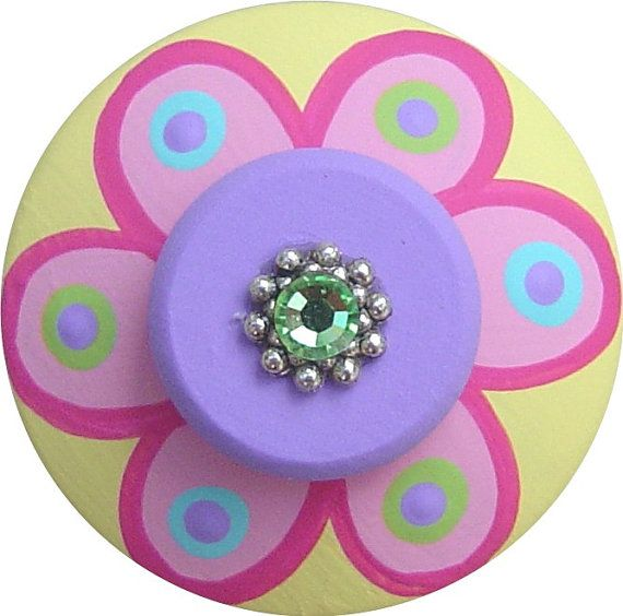 Multi Color FLOWER Polka Dot Swarovski by LisaEverettDesigns, $8.50
