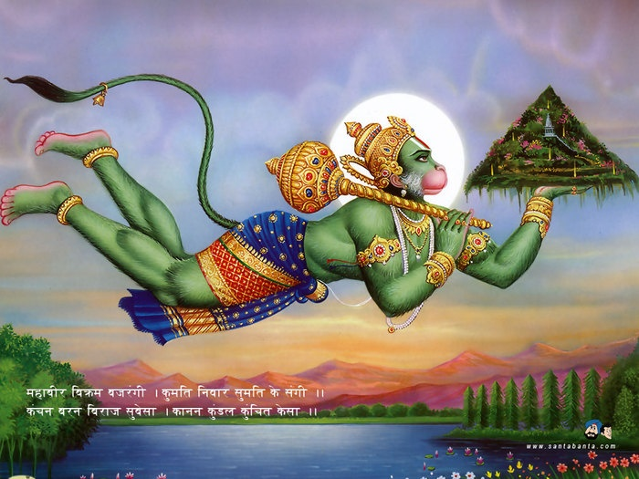 One of my favorites among the Hindu pantheon of Gods - Hanuman who can carry mountains and lead an army of monkeys into victory against the bad guy!