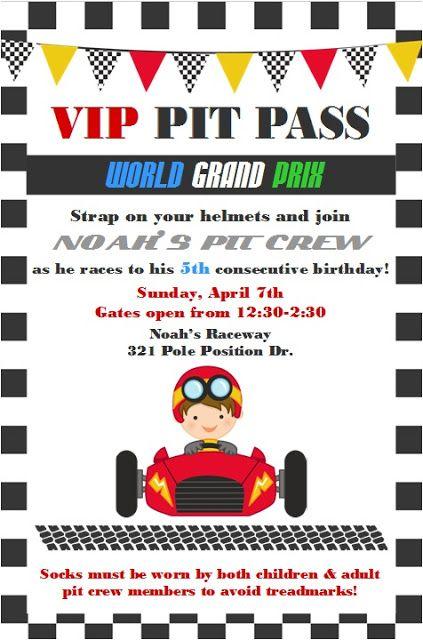 Noah's Cars World Grand Prix Party invitation ~ Lynlee's