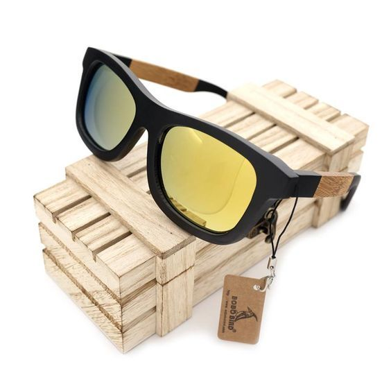 BOBO BIRD G02-3 Handmade Polarized Glasses Creative Bamboo Wooden Frame Yellow Polarized Lens Sunglasses Women Men With Box 2017