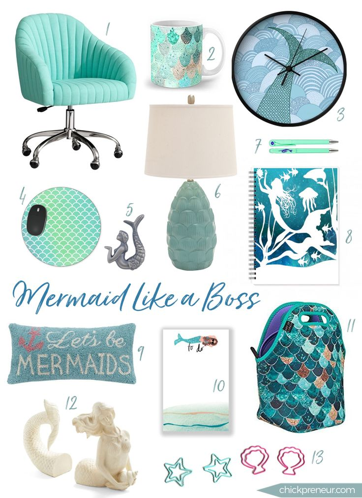The Mermaid: enchanting & graceful, seductive & confident. This Lady Boss of the Sea is celebrated in this roundup of office decor & accessories. Embrace your inner Siren.♥ SOHO Desk Chair in Pool Linen / $399 Summer Mermaid Mug / $15 Mermaid Wall Clock / $30 Mermaid Tail Mousepad / $10.99 Mermaid Pewter Cabinet Knobs …