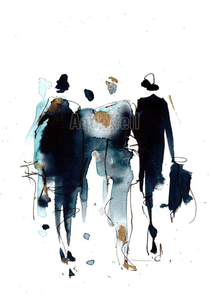 """Peinture illustration aquarelle pour décoration murale """"fashion"""""""