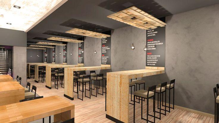 Mesas altas en proyecto decoración para cervecería en Santa Cristina - Oleiros (Galicia)