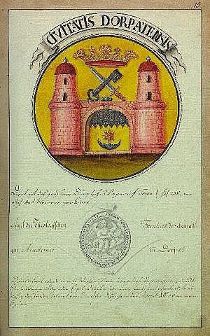 Civitatis Dorpatensis, Tērbatas ģerbonis, Johana Kristofa Broces darbs
