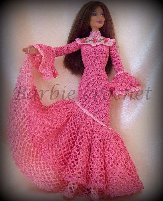 Abito all'uncinetto per barbie rosa con volants di Barbiecrochet, €20.00