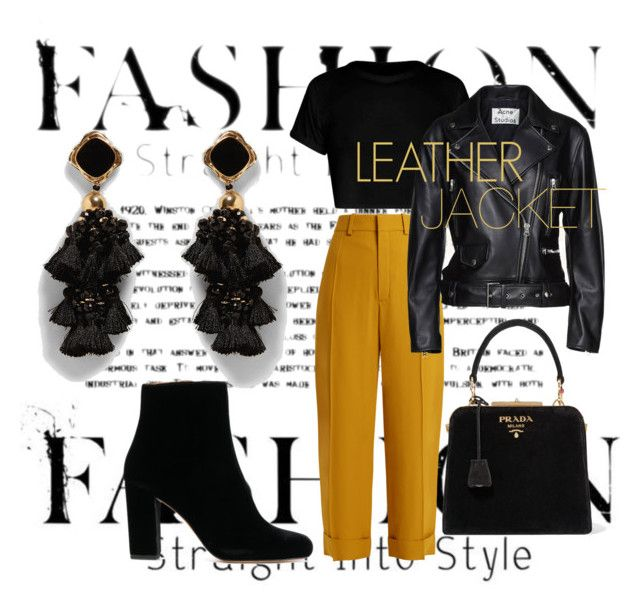 """""""Leather jacket"""" by emmamashilo on Polyvore featuring Chloé, Acne Studios and Prada"""