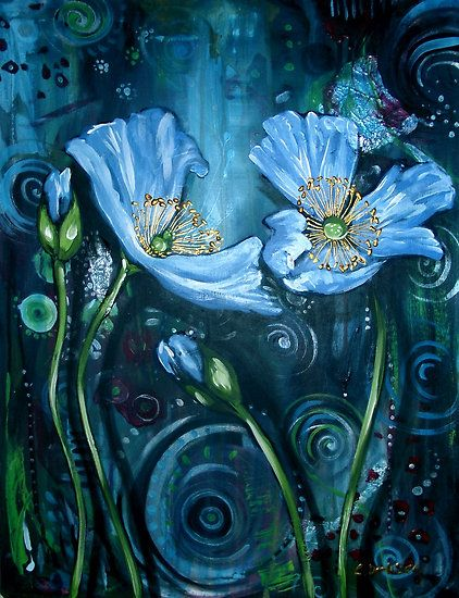 Blue Poppies - Finding Beauty in Chaos Series by Cherie Roe Dirksen