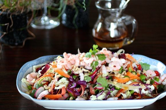 Spicy Rainbow Slaw with Shrimp and Peanuts (Turn #coleslaw into a meal)!