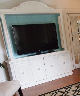 Refurbished Furniture-Old China Cabinet, with doors and glass removed to make TV stand