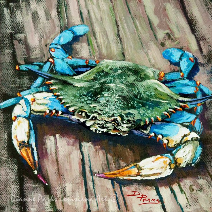 Louisiana Blue Crab on Dock, New Orleans Seafood Painting, Gulf Coast Blue Crab, Louisiana Seafood Art, GICLÉE Canvas & Print FREE SHIPPING! by DianneParksArt on Etsy https://www.etsy.com/listing/462215643/louisiana-blue-crab-on-dock-new-orleans