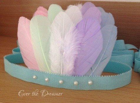 Pastel Pocahontas rainbow pastel feather crown halo headband dance ballet prop princess birthday party accessory fairytale costume